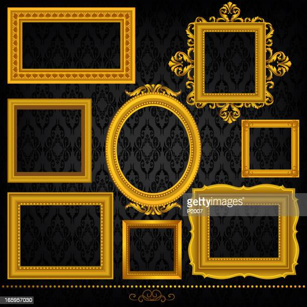 gold frame set - antique stock illustrations