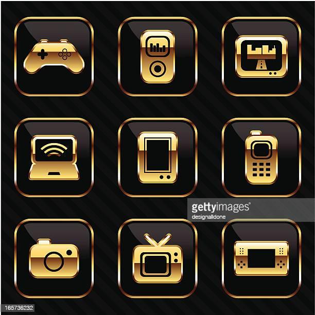 gold originelle symbole - electronic organizer stock-grafiken, -clipart, -cartoons und -symbole