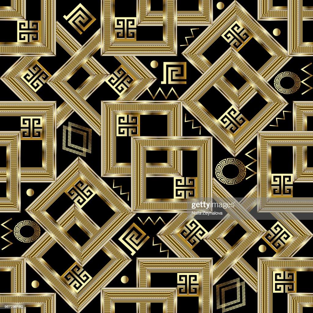 Gold geometric greek seamless pattern.