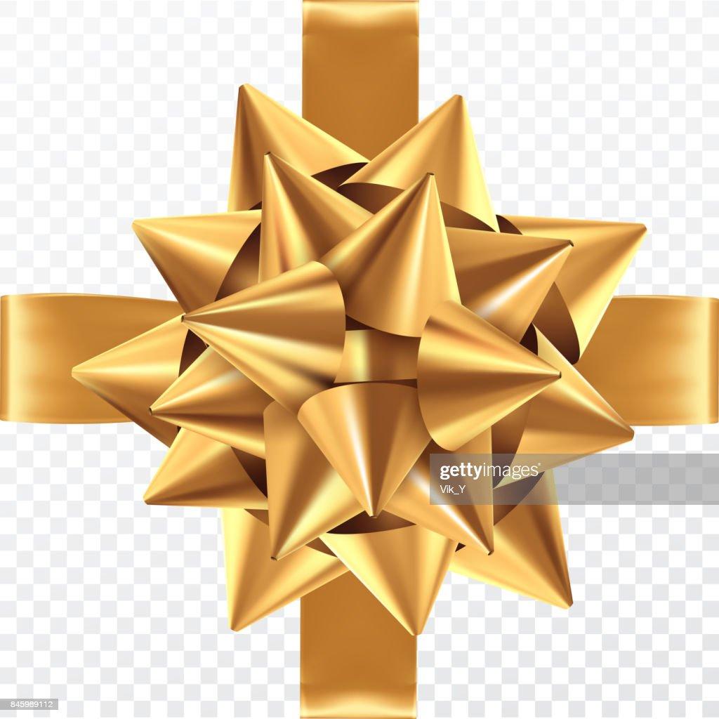 Gold gift bow on a transparent background. Template for postcard, flyer, leaflet design. Vector illustration