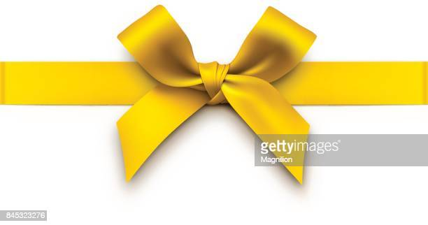 gold gift bow with ribbon - yellow stock illustrations