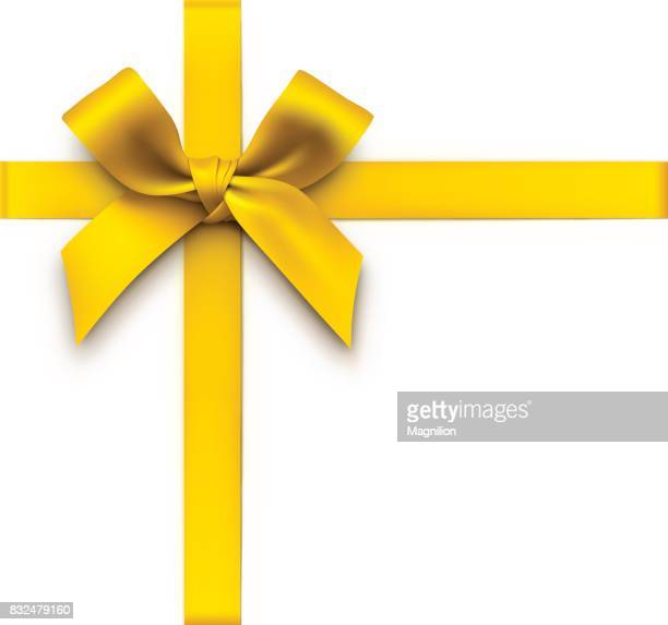 gold gift bow with ribbons - yellow stock illustrations