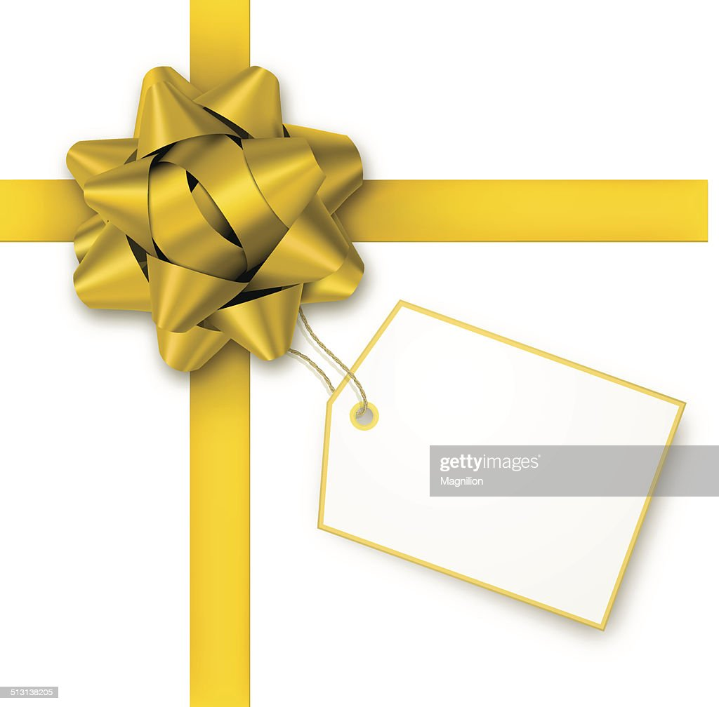 gold gift bow with tag vector art getty images
