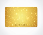 Gold Gift / Discount /Business card template with sparkling, twinkling stars