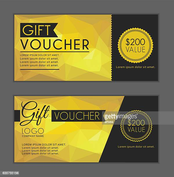 Gold Gift Vouchers Template. Bleed Size in in proportion 214x99 mm.