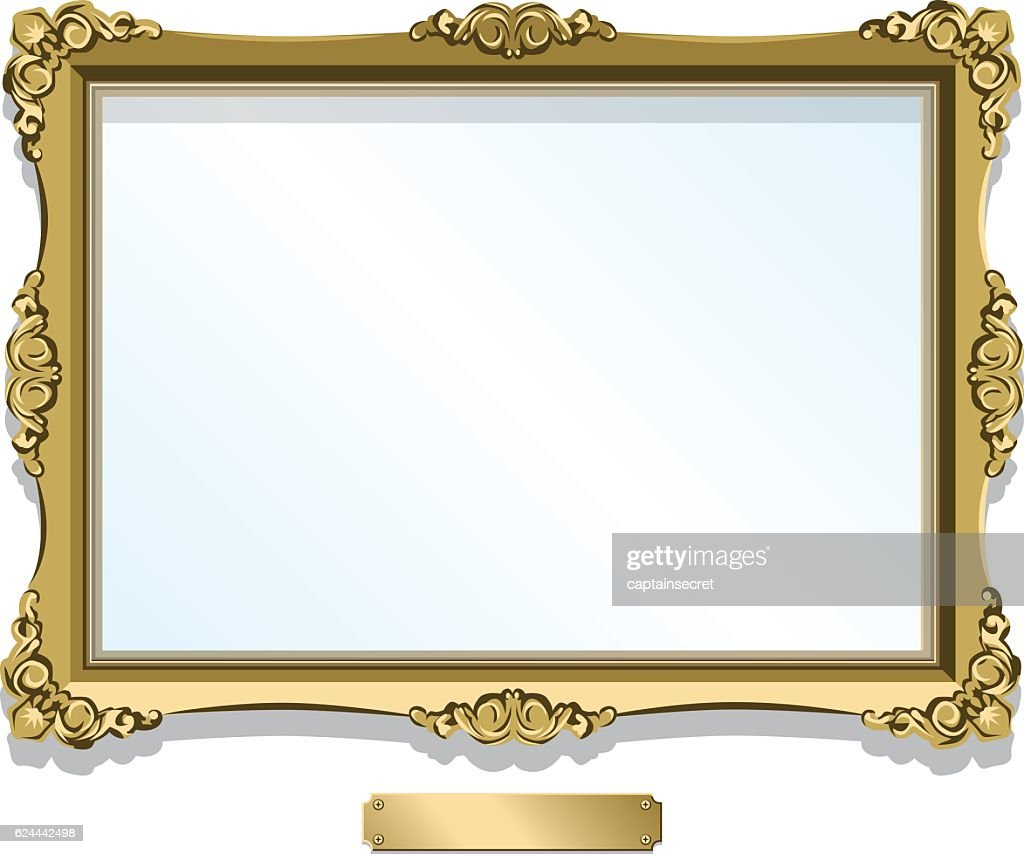 Gold gilded frame with plaque isolated on white : stock illustration