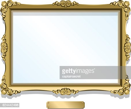 Gold Gilded Frame With Plaque Isolated On White Vector Art | Getty ...