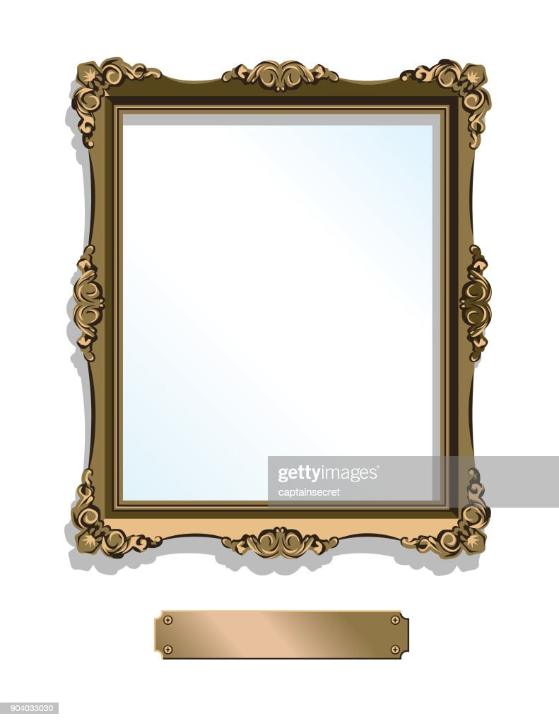 Gold gilded frame with plaque isolated on white - vertical : stock illustration