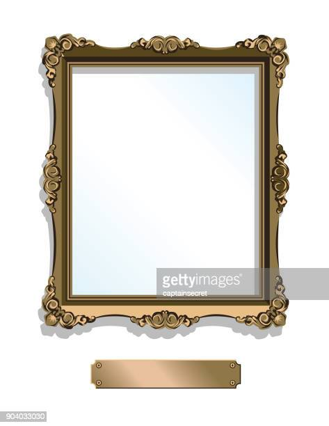 gold gilded frame with plaque isolated on white - vertical - painted image stock illustrations