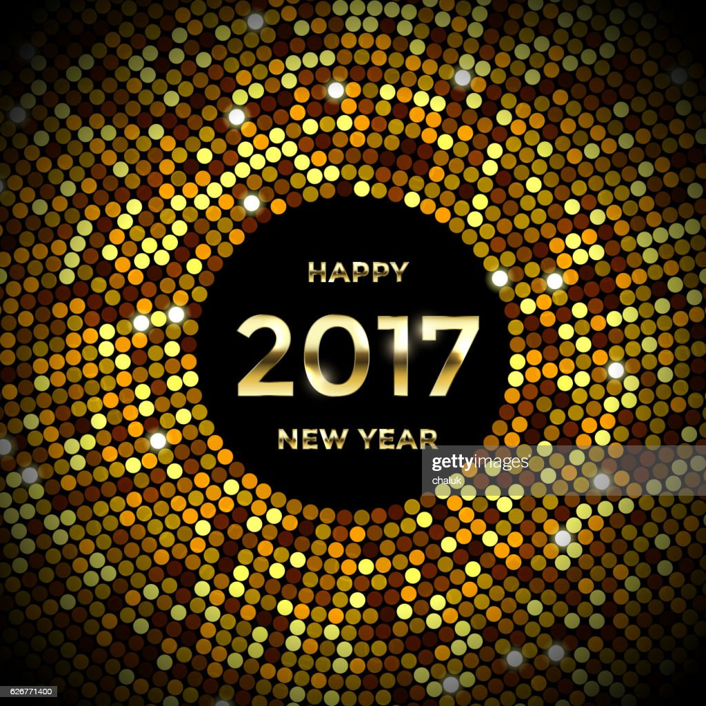 Gold Glitter Background Confetti For New Year Greeting Card Vector