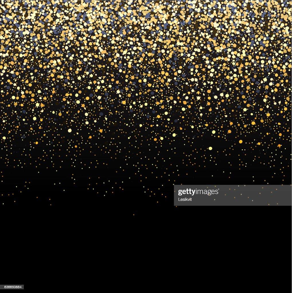 Gold glitter black background.