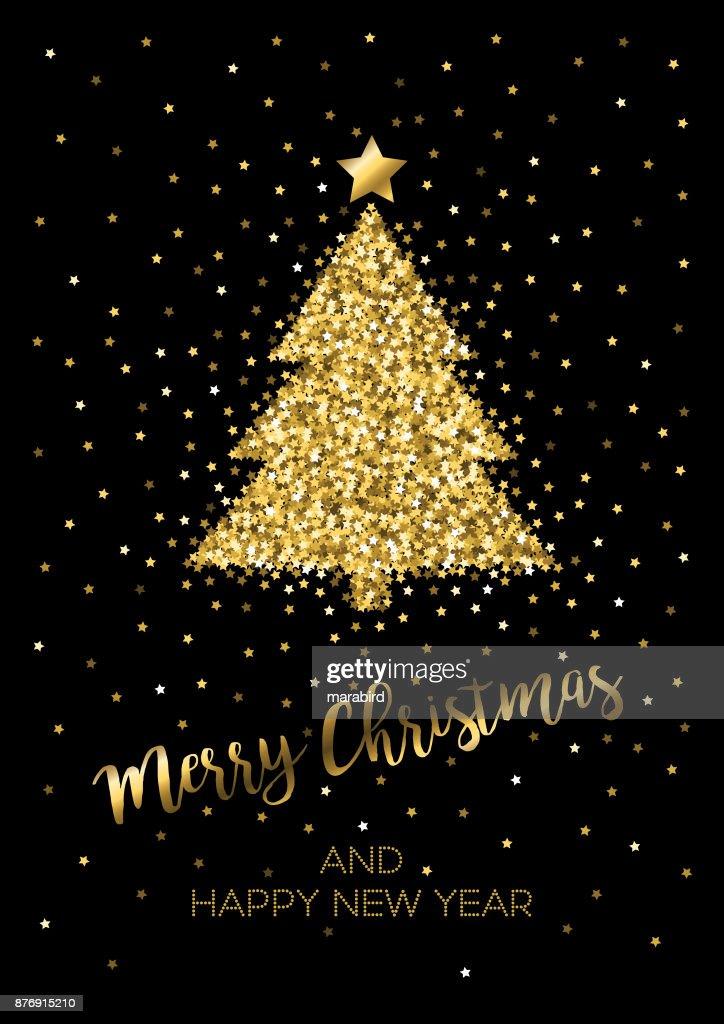 gold glitter christmas tree on black background vector art