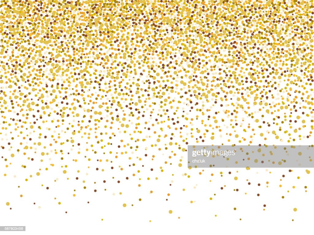 Gold glitter confetti frame for festive greeting card.