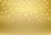 Gold glitter dust texture shining on golden background. Gold particles. Luxury design. Vector illustration