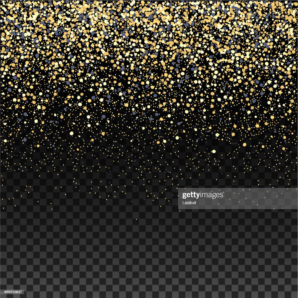 Gold Glitter Falling Confetti On A Dark Checkered Background