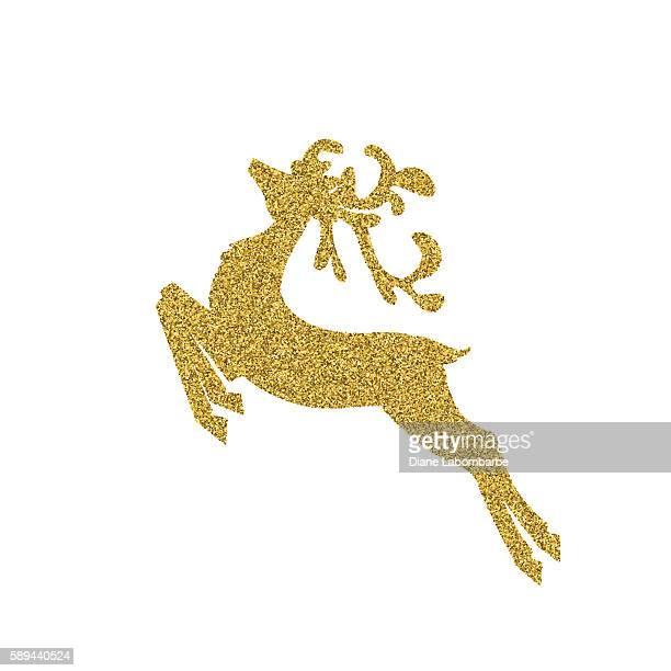 Gold Glitter Foil Christmas Ornament - Reindeer