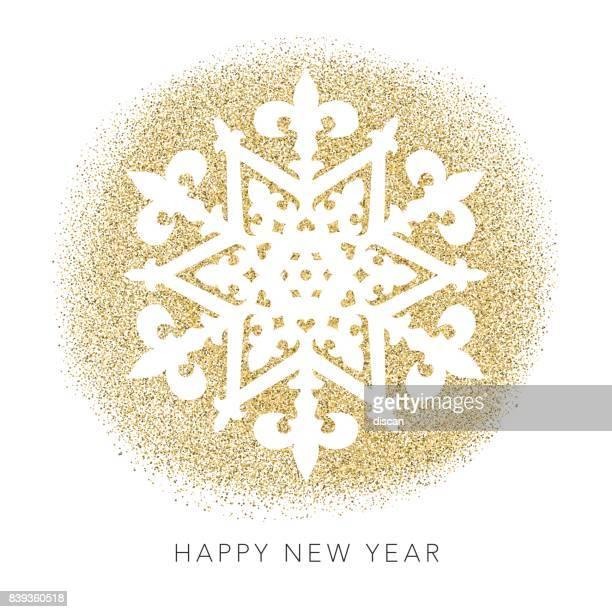 ilustraciones, imágenes clip art, dibujos animados e iconos de stock de glitter oro hoja navidad - copo de nieve - papel de aluminio