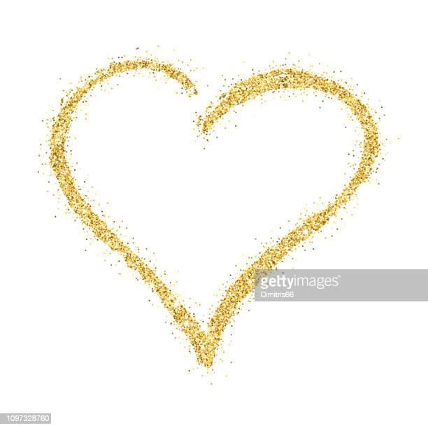 goldglitter handgezeichneten vektor herzen auf weißem hintergrund - flitter stock-grafiken, -clipart, -cartoons und -symbole