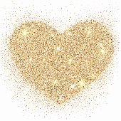 Gold glitter heart with sparkles on white background