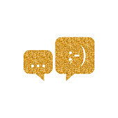 Gold Glitter Icon - Chat bubbles