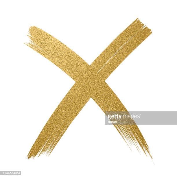 ゴールドグリッターアイコン。十字形。チェックマーク ok アイコン。白の背景にキラキラ金色のブラシストローク。 - 十字形点のイラスト素材/クリップアート素材/マンガ素材/アイコン素材