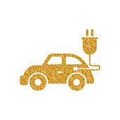 Gold Glitter Icon - Electric car