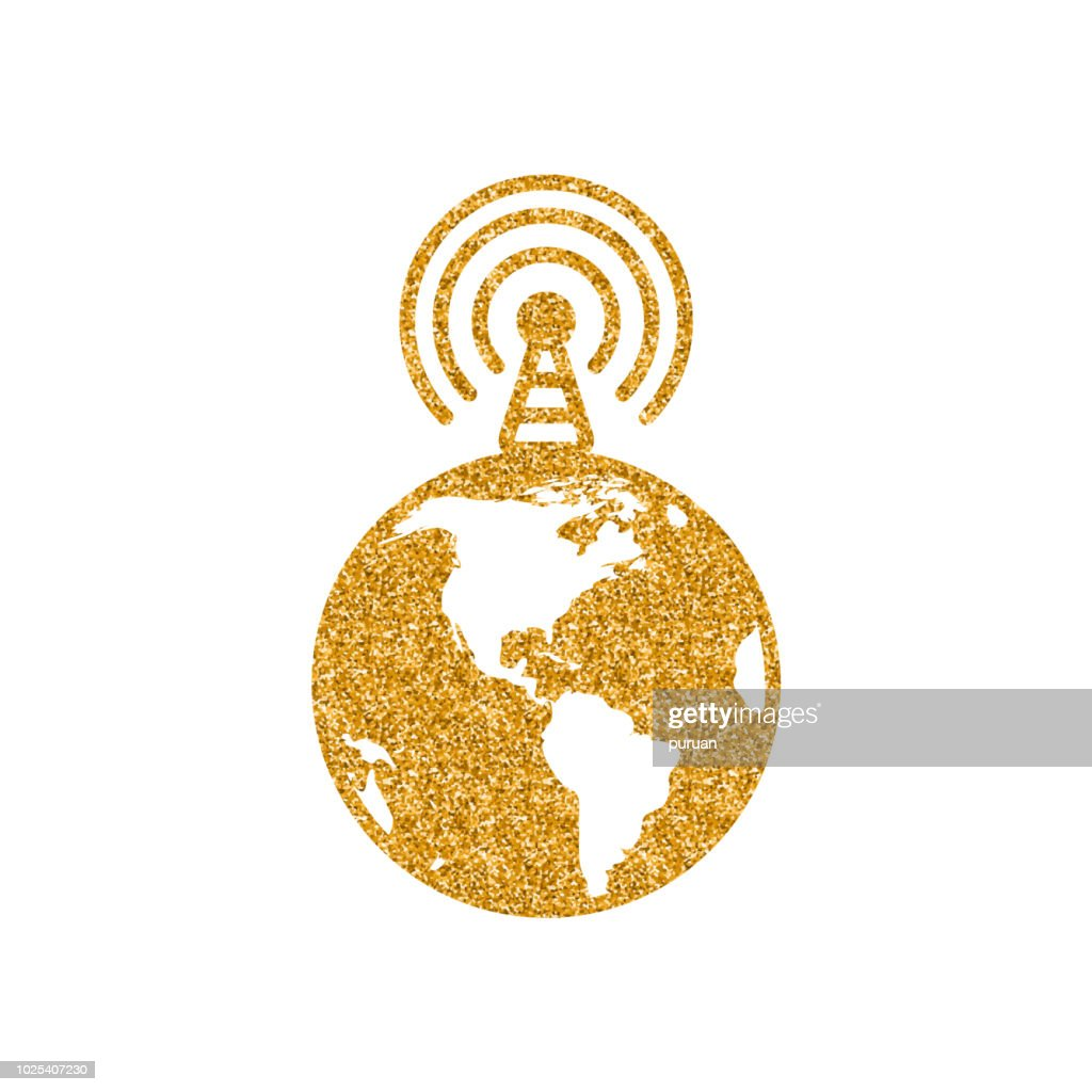 Gold Glitter Icon - Globe podcast