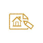 Gold Glitter Icon - House blueprint