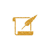 Gold Glitter Icon - Letter quill pen