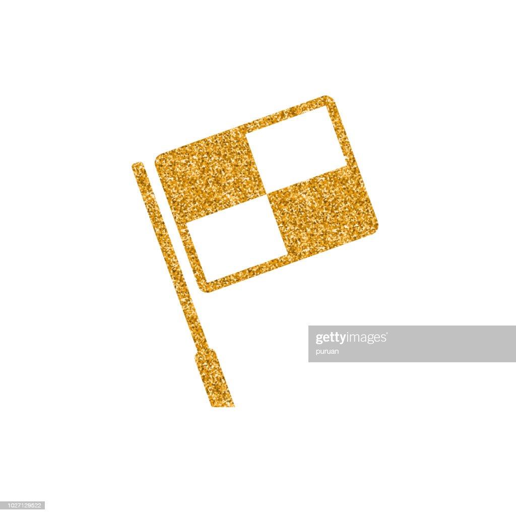 Gold Glitter Icon - Lineman flag
