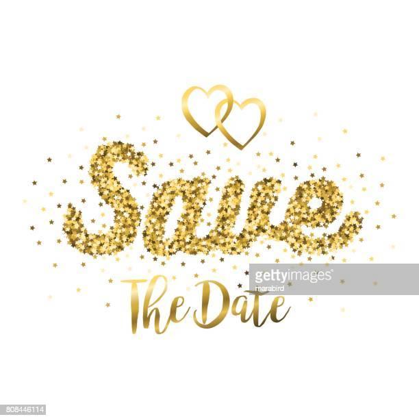 Gold Glitter Save The Date Phrase
