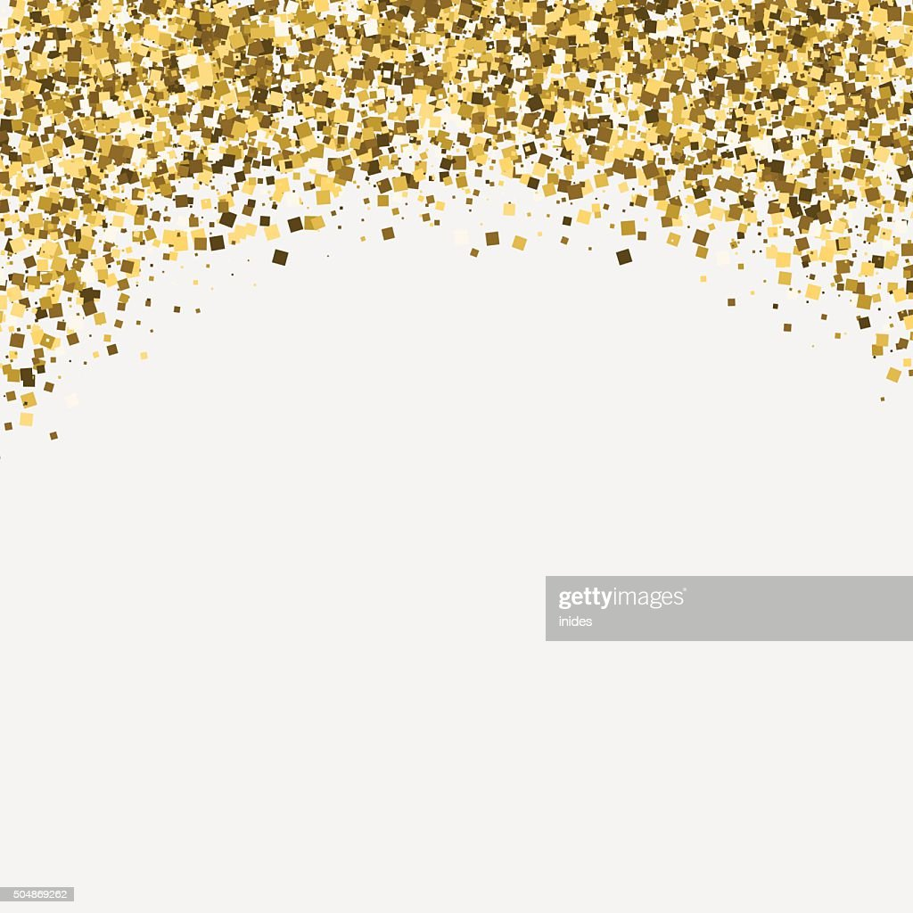Gold glitter shimmery heading. Invitation card or flyer with sparkling
