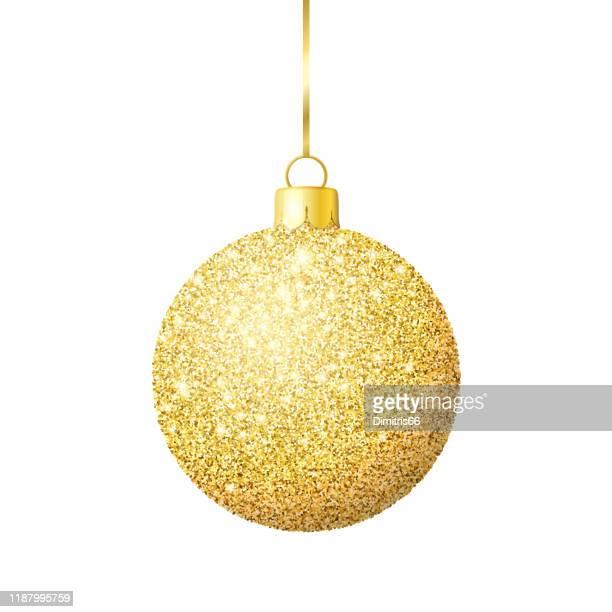 gold glitzer glänzende weihnachtskugel - flitter stock-grafiken, -clipart, -cartoons und -symbole