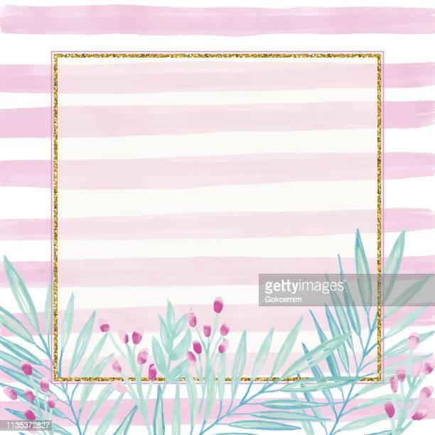 ピンクのストライプの背景に繊細な葉とベリーとゴールドグリッタースクエアフレーム。幾何学的な植物ベクターデザインフレーム。熱帯夏のコンセプト、デザイン要素。 - ユーカリの葉点のイラスト素材/クリップアート素材/マンガ素材/アイコン素材