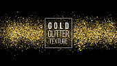 Gold Glitter Texture On A Black Background. Holiday Background. Golden Explosion Of Confetti. Golden Grainy Abstract Texture. Vector Design Element