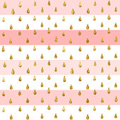 Gold glittering drops seamless pattern, striped background