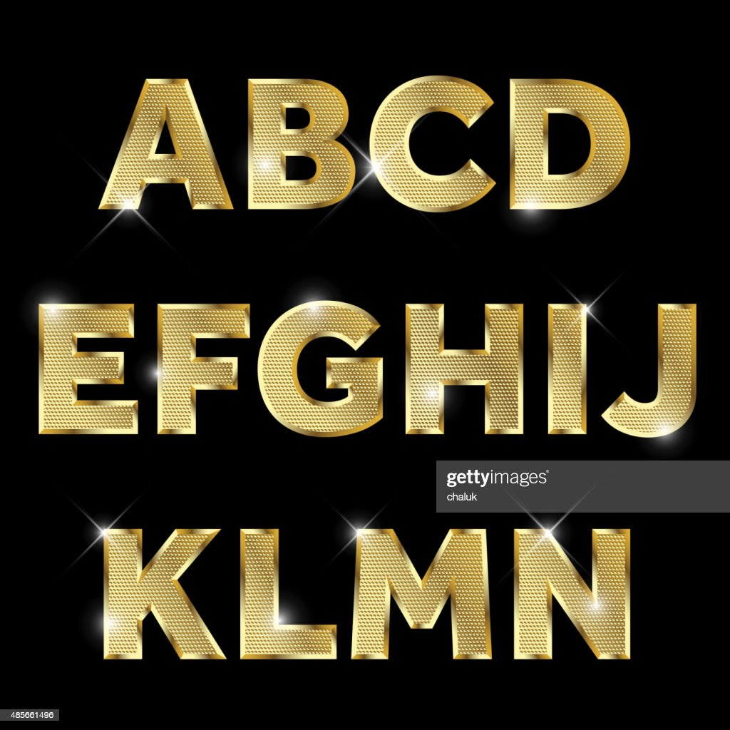 Gold glittering metal alphabet set A to N uppercase.