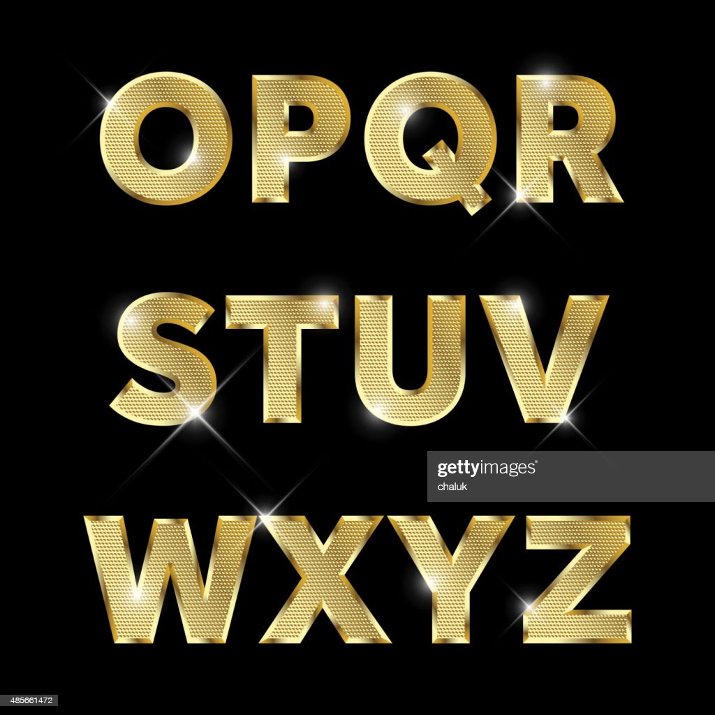 Gold glittering metal alphabet set O to Z uppercase.