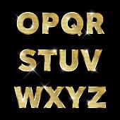 Gold glittering metal alphabet set O to Z uppercase.
