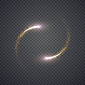 Gold glittering star dust lights circle