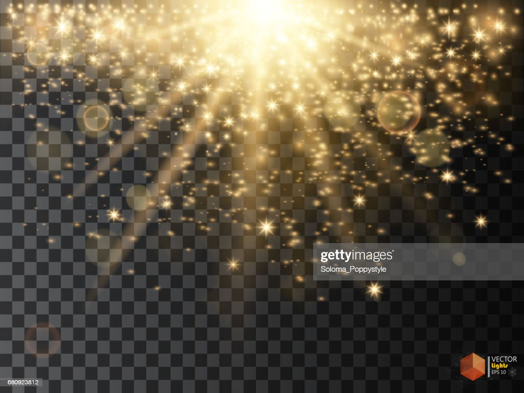 Gold glittering star dust trail sparkling particles on transparent background.