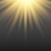 Gold glowing light burst explosion on transparent background. Bright flare effect decoration with ray sparkles. Transparent shine gradient glare texture. Vector illustration lights effect
