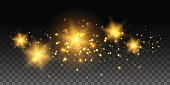 Gold glowing stars and effects