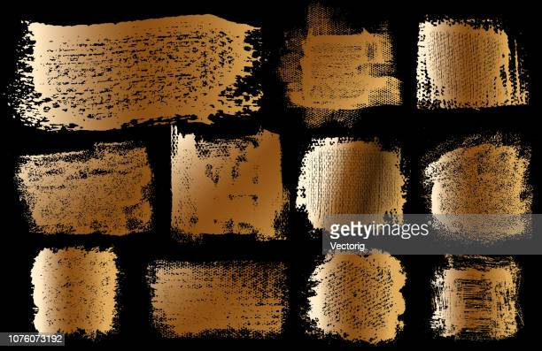 Gold Grunge Brush Stroke Paint Boxes Backgrounds