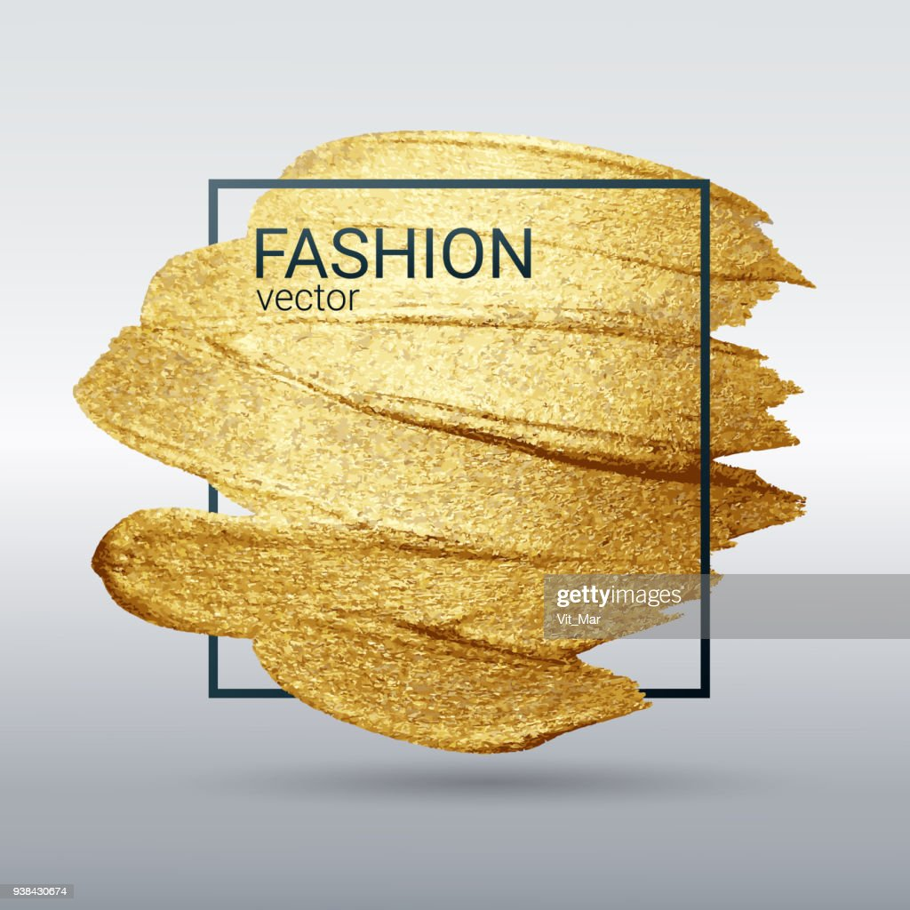 Gold grunge texture in a frame. Smear with an artistic brush. A brilliant festive pattern. White background. Vector abstract image. A high resolution.