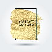 Gold grunge texture in a frame. Vector banner. Artistic brushstroke.