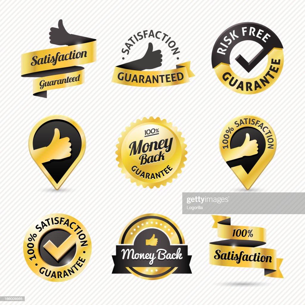 Gold Guarantee / Warranty badges : stock illustration