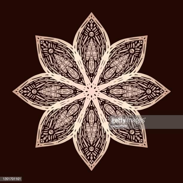 ゴールドハンド描きの水リリー蓮のマンダラパターンの背景。ヘナ、メンディタトゥーデコレーション。民族的なオリエンタル様式の装飾装飾。 - ローズゴールド点のイラスト素材/クリップアート素材/マンガ素材/アイコン素材