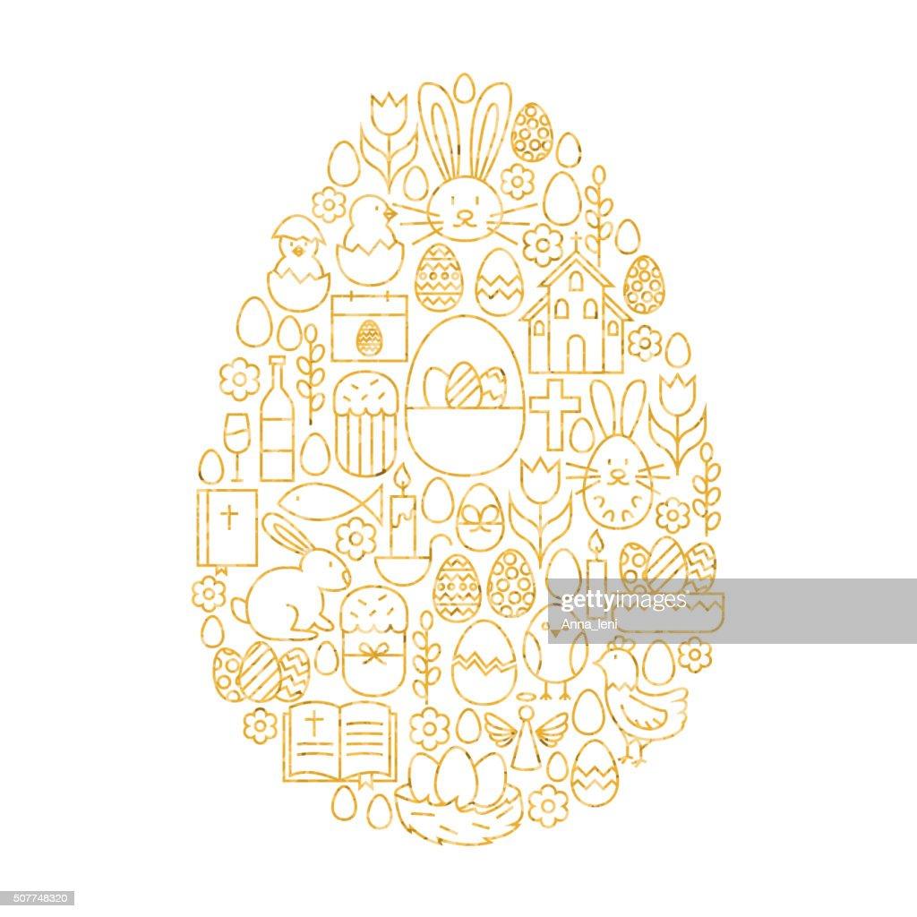 Gold Happy Easter Line Icons Set Egg Shape