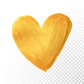 Gold heart paint brush for Valentine on white background. Vector golden watercolor painting of heart shape for love concept design. Valentine's day card heart template